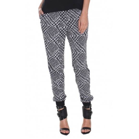 Tibi Pants - Tibi Joggers 6 Pants Black White Houndstooth Small